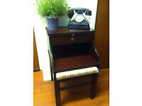 Stylish 1960s Chippy Retro Hallway Table Seat with Drawer