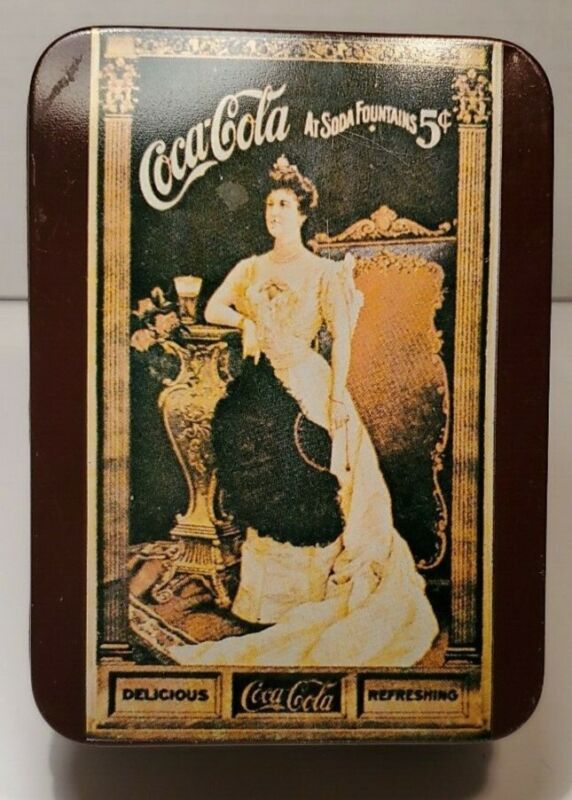 """Vintage Tin """"Coca Cola At Soda Fountains 5¢"""" features Queen Mary & Note Paper"""