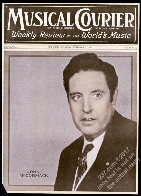1932 John McCormack photo Musical Courier framing cover