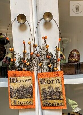 Autumn Primitive Grubby Herbs Pouch  Hanger Make Do Dried Sweet Annie Halloween