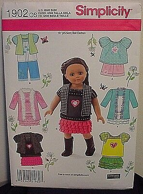 """New/Uncut Simplicity Doll Clothes Pattern # 1902 OS -For 18"""" Doll Clothes"""