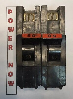 Federal Pacific Fpe Stab-lok Breaker 2 Pole 50 Amp 240v Thick - Ships Today