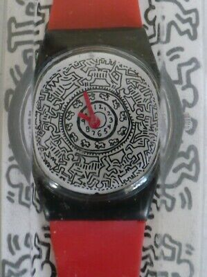 """Original NEW in box Keith Haring Rare Model """"Running Time"""" Art Swatch Watch"""