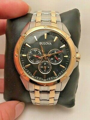 Bulova 98C120 Two Tone Stainless Steel Balck Dial 30m Men's Watch-H55