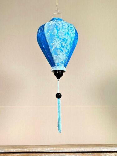 BLUE HANGING LANTERNS, Traditional Hoi Ann Asian Lanterns, Outdoor Silk Lanterns