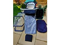 Silver Cross carry cot, pram and push chair all weather combo