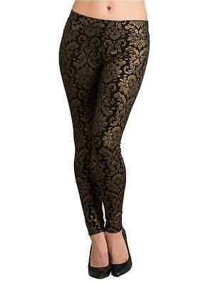 Hue New NWOT sz XS leggings black foil gold baroque print ponte knit pants