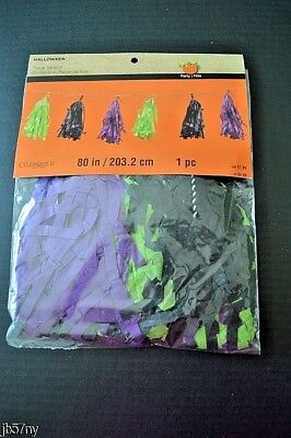 Halloween Tissue Garland Black, Green & Purple  80