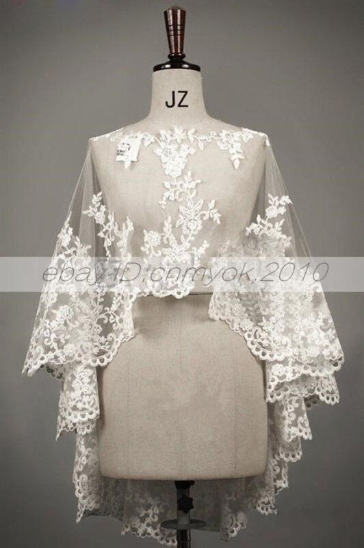 Bridal Jacket Bolero Wedding Shawl Wraps Cape White/Ivory Shrug Lace Applique