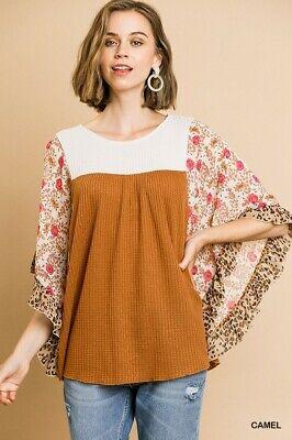 UMGEE Camel Floral Animal Print Dolman Sleeve Waffle Knit Top Plus Size
