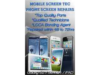Samsung galaxy s3,s4, galaxy note ,note2,note3 screen replacement cracked front glass repair service
