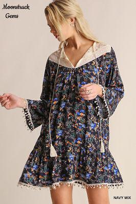 UMGEE Navy Mix Floral Print Crochet Lace Trim Dress USA Boutique ()