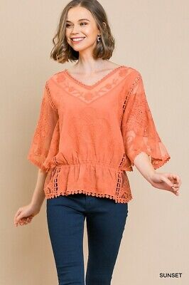UMGEE Sunset Orange Floral Embroidered Crochet Lace -