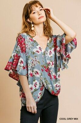 UMGEE Floral Print Ruffle Sleeve Top Size SML + Plus Size XL Floral Print Ruffle Top