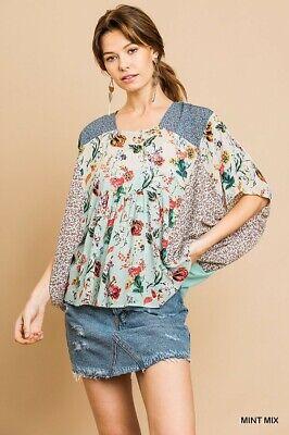 UMGEE Floral Mixed Print Dolman Sleeve Top
