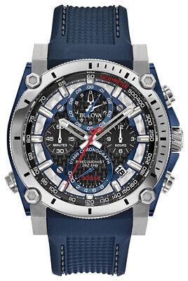 Bulova Precisionist Men's 98B315 Chronograph Blue Silicone Strap 46mm Watch