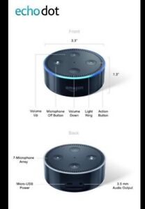 Black 2nd gen echo dot, like new with box