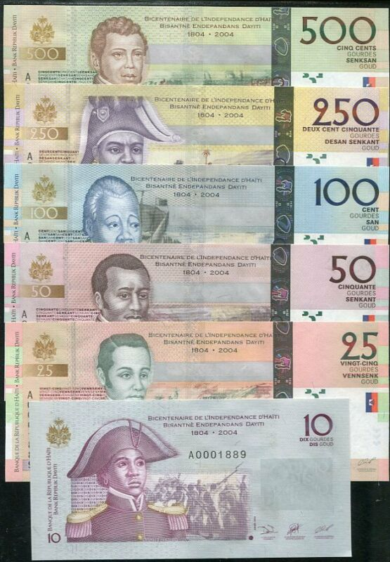 HAITI SET 6 UNC 10 25 50 100 250 500 GOURDES 2004 P 272-277 COMM.