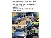 Vauxhall zafiera 7 seater car selling as need smaller car just has new clutch not till august