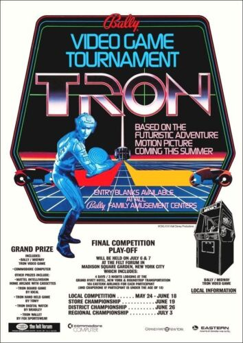 Tron Reproduction 24 x 34 1981 Promotional Video Arcade Game Contest Poster