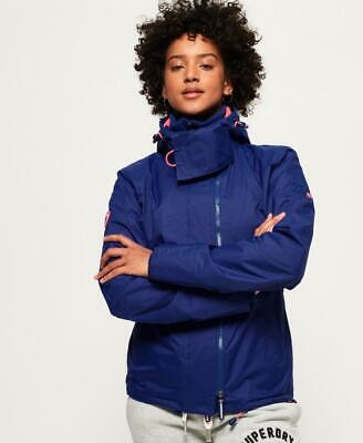 Womens Superdry Arctic Hooded Pop Zip Windcheater Blue Jacket Size 4 (US)