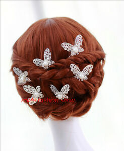 3-Pieces-Wedding-Bridal-Butterfly-White-Pearl-Crystal-Silver-Plated-Hair-Pins
