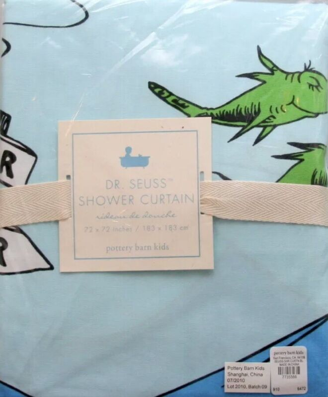 NEW RARE Pottery Barn Kids DR. SEUSS SHOWER CURTAIN *one fish two fish BLUE