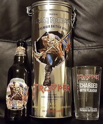 IRON MAIDEN TROOPER Collectors Gift Set Tin, Pint Glass & Bottle,Metallica,Eddie