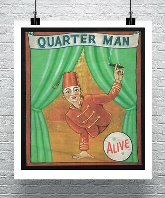 Quarter Man Vintage Freak Show Poster Canvas Giclee 24x28