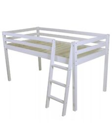 White mid sleeper bed without slats