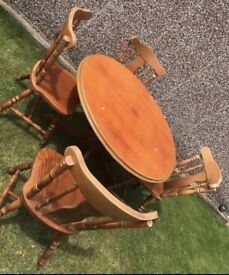 4 Seater Wood Table & Chairs