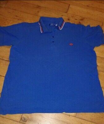 Blue Adidas Polo T Shirt Size UK Extra Large XL Orange Logo