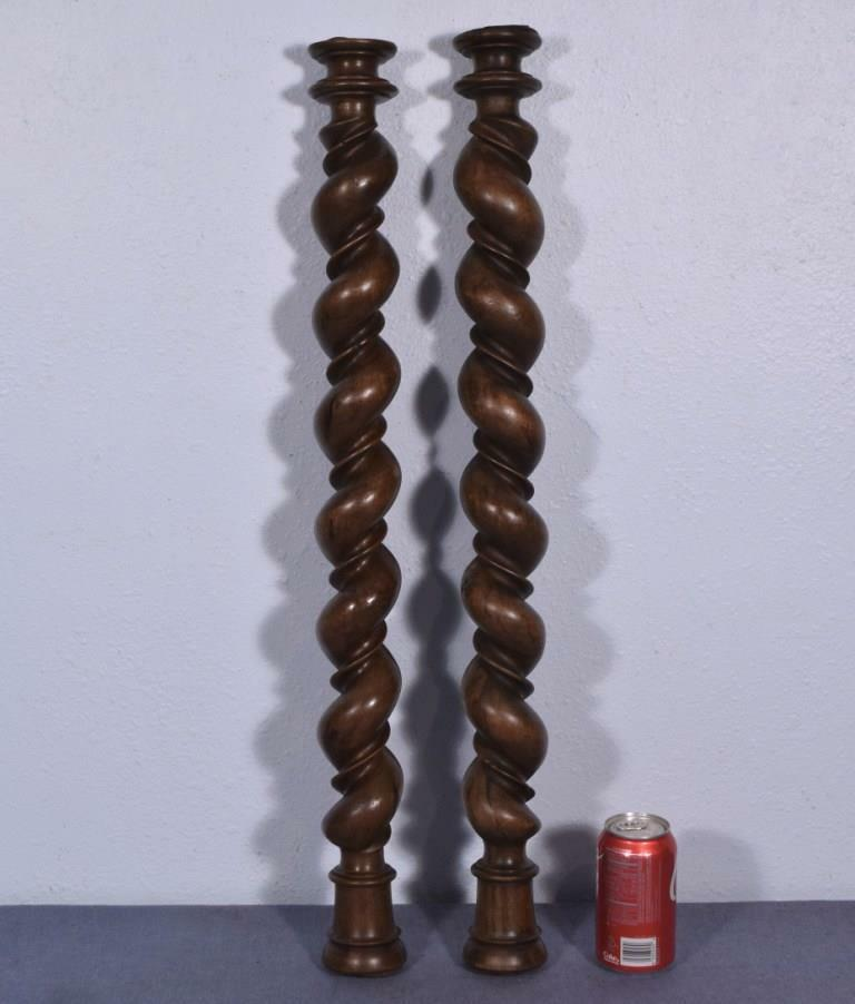 "*30"" Antique Double Spiral Turned/Barley Twist Posts/Pillars/Columns in Walnut"