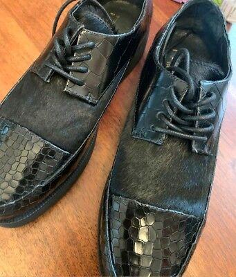 F Troupe Oxford Shoes Black Leather Pony Hair Platform Shoes Sz 40 US Sz 8.5 NEW for sale  Greensboro