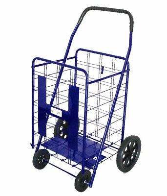 Utility Shopping Cart Foldable Outdoor Grocery Laundry W Wheels Blackblue