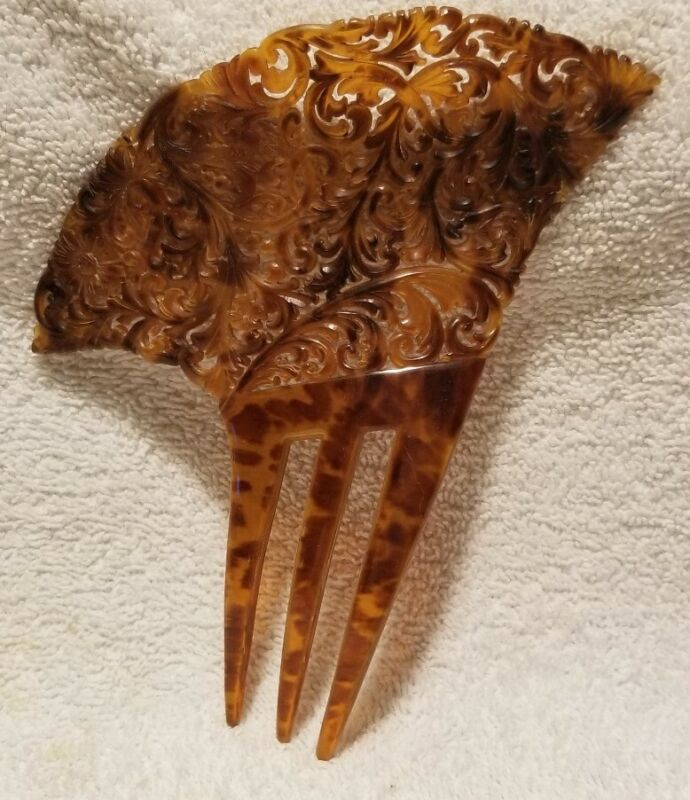 Antique Tortoise Celluloid Hair Comb Mantilla Peineta Hand Carved Large EUC