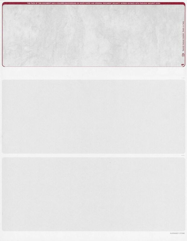 500 Blank Security Check Paper Stock - Checks on Top (Stone Burgundy)