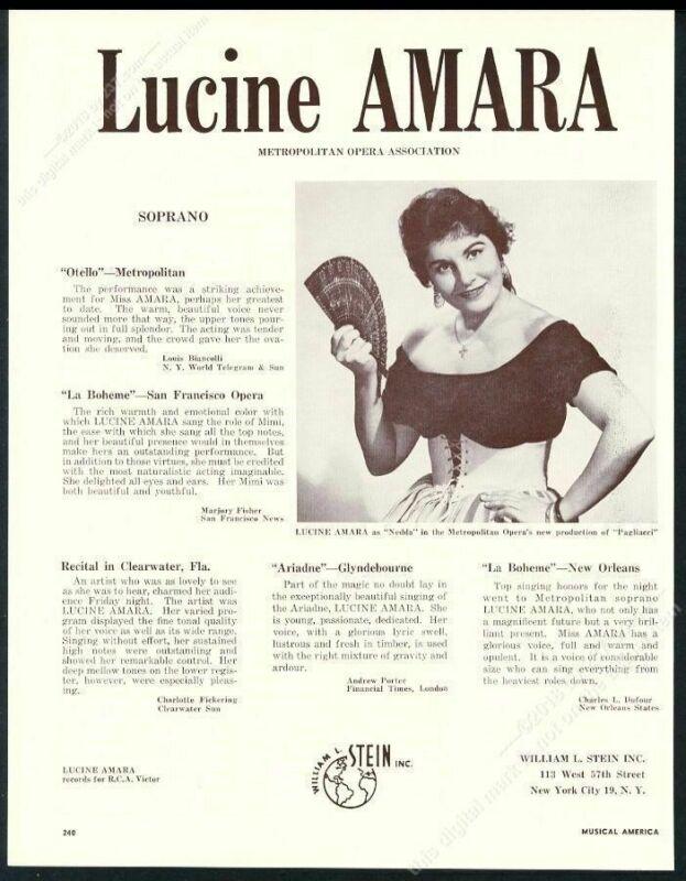 1959 Lucine Amara photo opera recital tour booking trade print ad