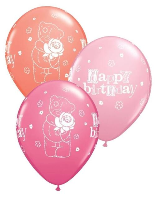 "25 x 11"" Round Tatty Teddy Birthday Latex balloons in pinks / orange"