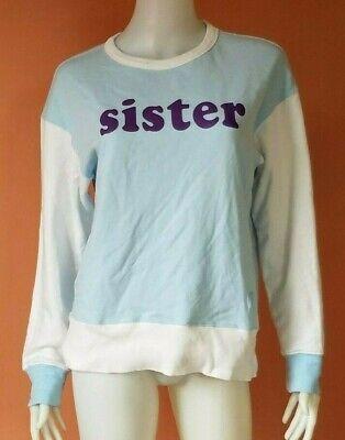ACNE STUDIOS SISTER PRINT COLORBLOCK SWEATER POWDER BLUE/WHITE SIZE L