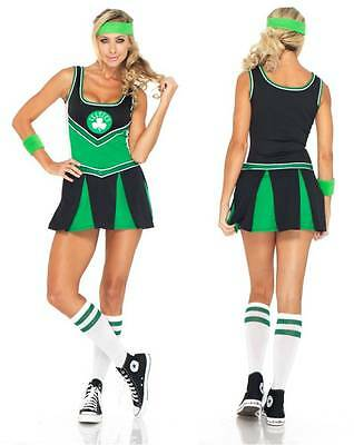NEW WOMENS BOSTON CELTICS CHEER LEADER COSTUME HEN DOO FANCY DRESS PARTY OUTFIT (Celtics Cheerleaders Kostüme)
