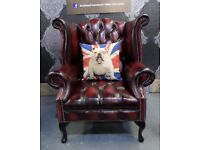 NEW Chesterfield Queen Anne Wing Back Chair in Oxblood Leather - Uk Delivery