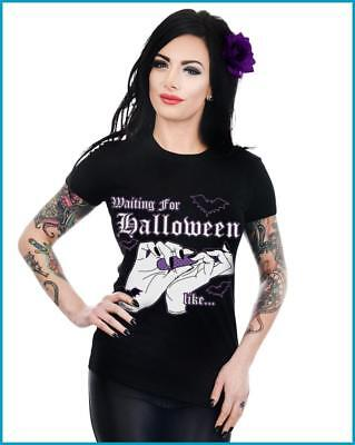 Too Fast Waiting For Halloween Like Baby Doll T Shirt Top Bat Goth Glamour - Halloween Glamour