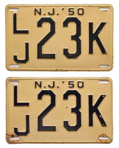 New Jersey 1950 Mercer County License Pair, LJ 23K, Nice Quality