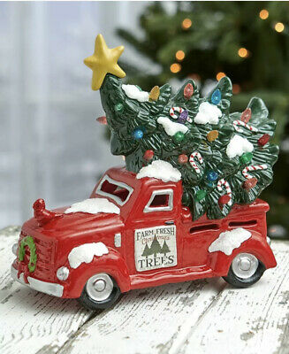 Retro Rustic Lighted RED Pick-up Truck with Christmas Tree Centerpiece