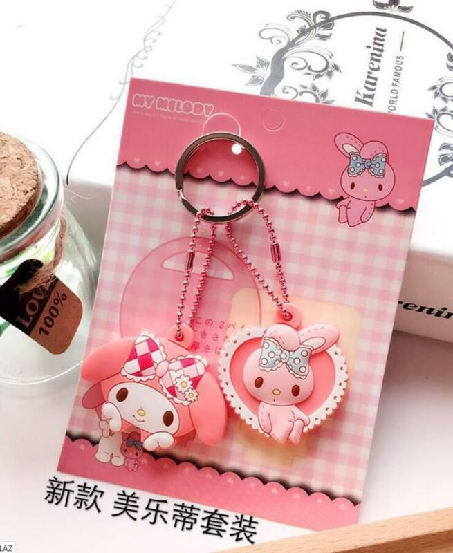 2PC Cute My Melody Key Cap Cover Silicone Keychain Case Keyring Key Chain Gift