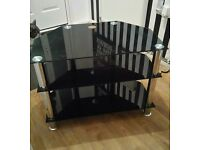 Black glass & crome TV stand