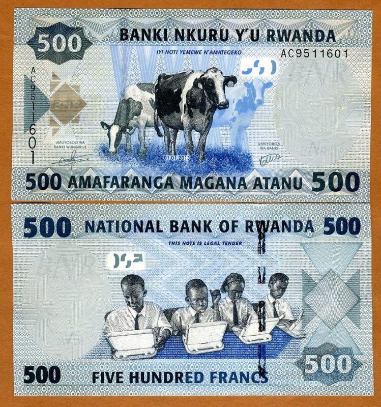 Rwanda, 500 Francs, 2013, P-38, AA-Prefix, UNC > Schoolchildren, Cows