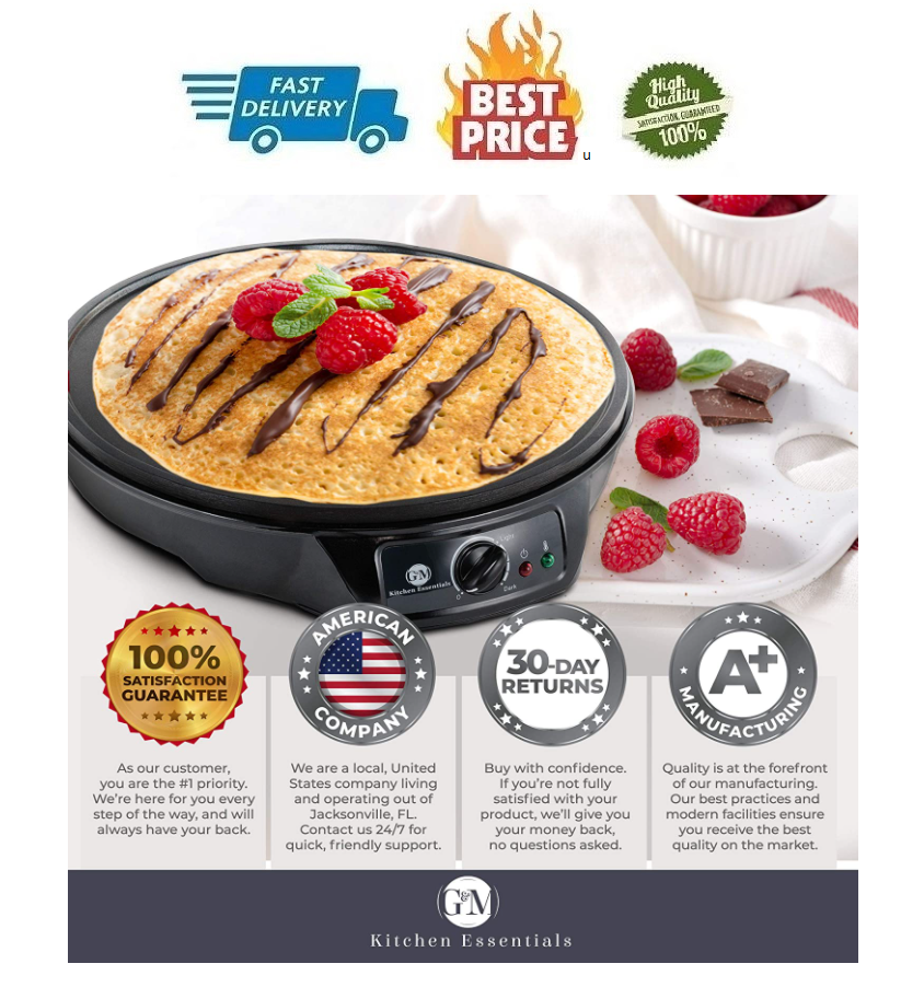 12 Crepe Maker Electric Machine Pancake Griddle Nonstick and