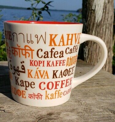 STARBUCKS MULTI LANGUAGE COFFEE NAMES MUG 16 OZ. 2008
